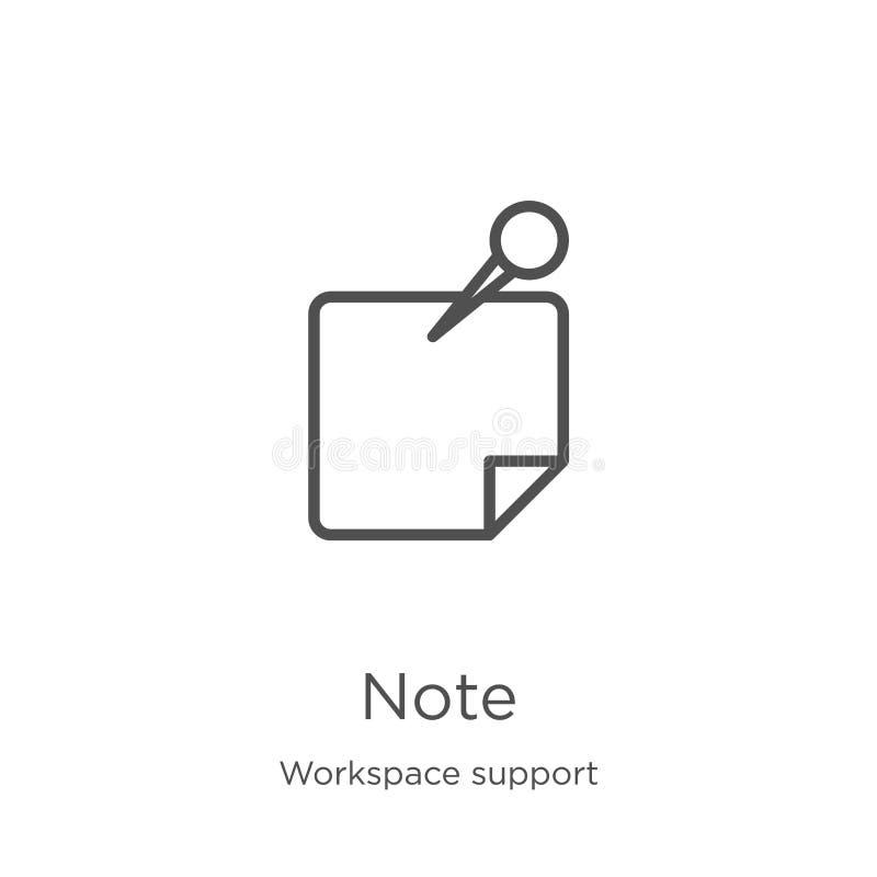 vecteur d'ic?ne de note de collection de soutien d'espace de travail Ligne mince illustration de vecteur d'ic?ne d'ensemble de no illustration libre de droits