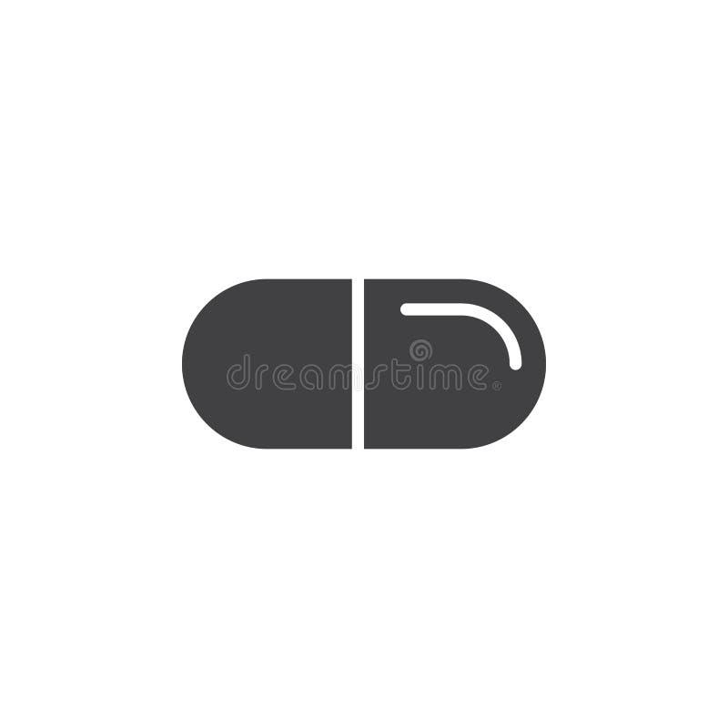 Vecteur d'icône de pilule, signe plat rempli, pictogramme solide d'isolement sur le blanc illustration libre de droits