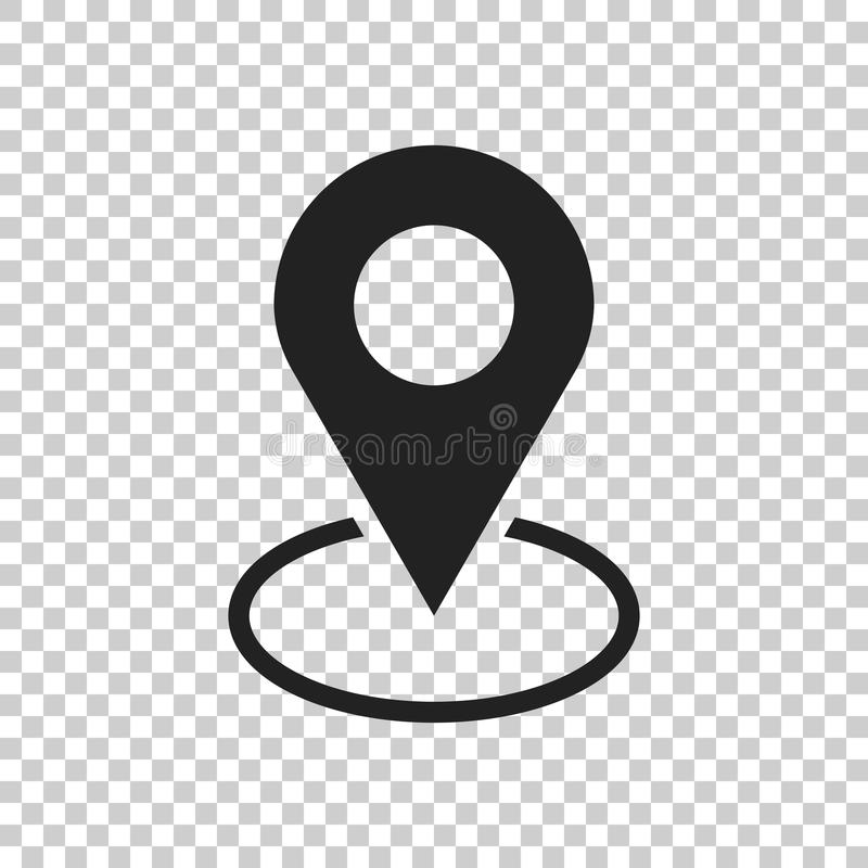Vecteur d'icône de Pin Style plat de connexion d'emplacement d'isolement sur l'isolat illustration de vecteur