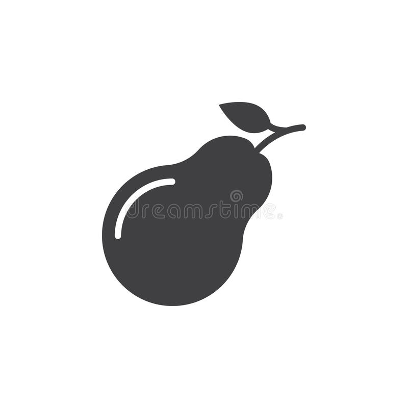 Vecteur d'icône de poire, signe plat rempli, pictogramme solide d'isolement sur le blanc illustration stock