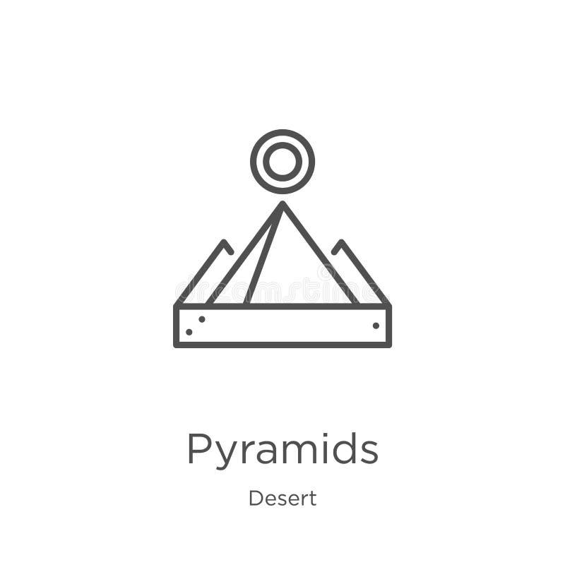 vecteur d'ic?ne de pyramides de collection de d?sert Ligne mince illustration de vecteur d'ic?ne d'ensemble de pyramides Contour, illustration de vecteur