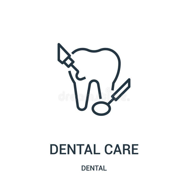 vecteur d'ic?ne de soins dentaires de la collection dentaire Ligne mince illustration de vecteur d'ic?ne d'ensemble de soins dent illustration de vecteur