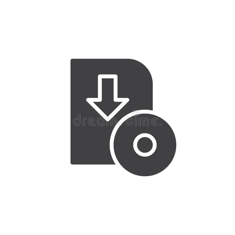Vecteur d'icône de téléchargement de logiciel, signe plat rempli illustration de vecteur