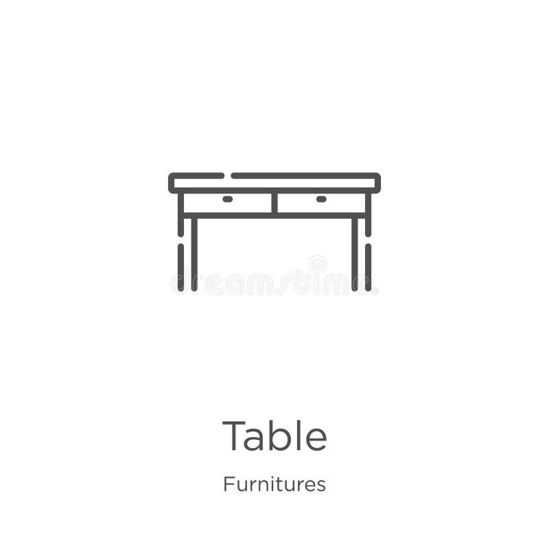 vecteur d'ic?ne de table de collection de meubles Ligne mince illustration de vecteur d'ic?ne d'ensemble de table Contour, ligne  illustration libre de droits