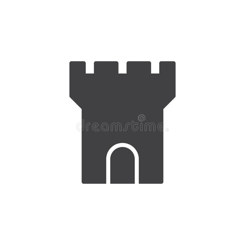 Vecteur d'icône de tour de forteresse, signe plat rempli, pictogramme solide d'isolement sur le blanc illustration stock