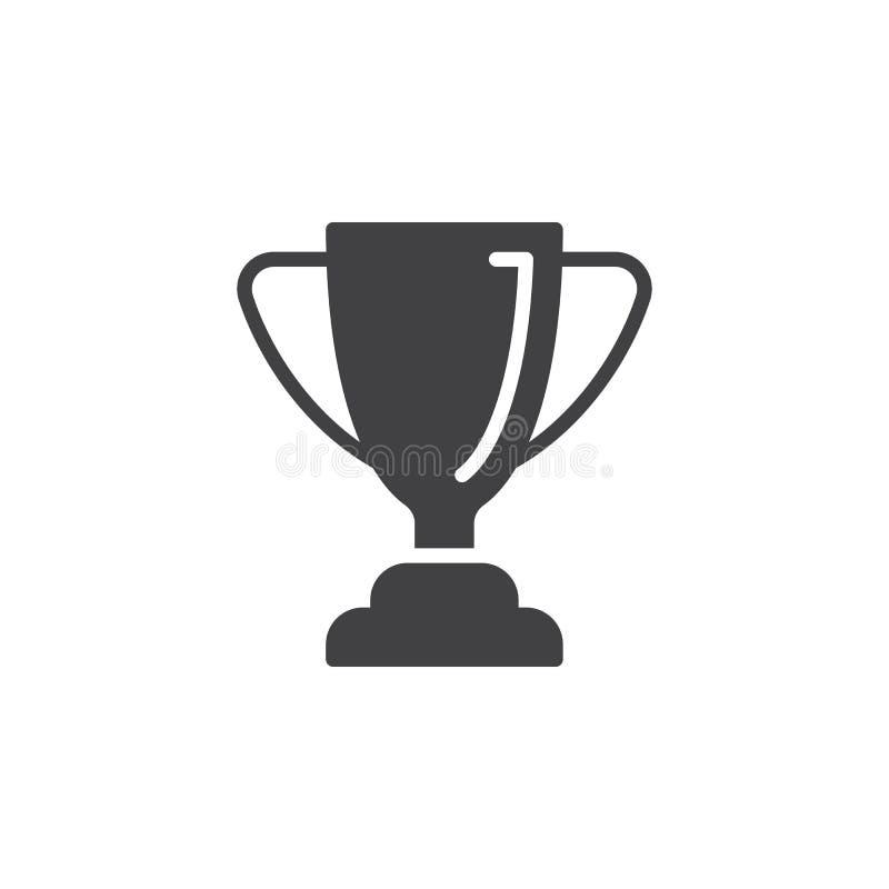 Vecteur d'icône de trophée de tasse affectueuse, signe plat rempli, pictogramme solide d'isolement sur le blanc illustration libre de droits