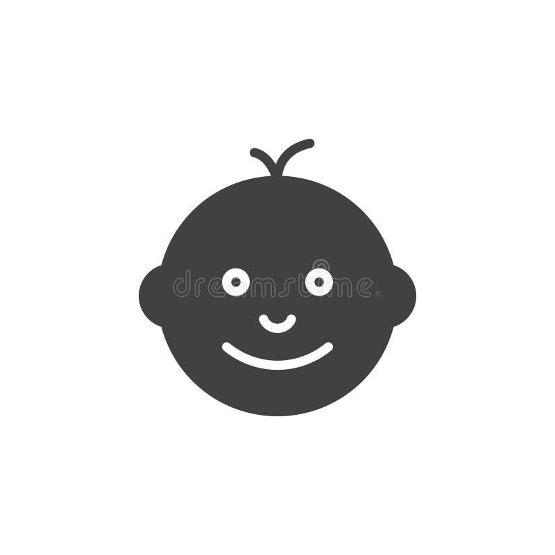 Vecteur d'icône de visage de bébé, signe plat rempli illustration de vecteur