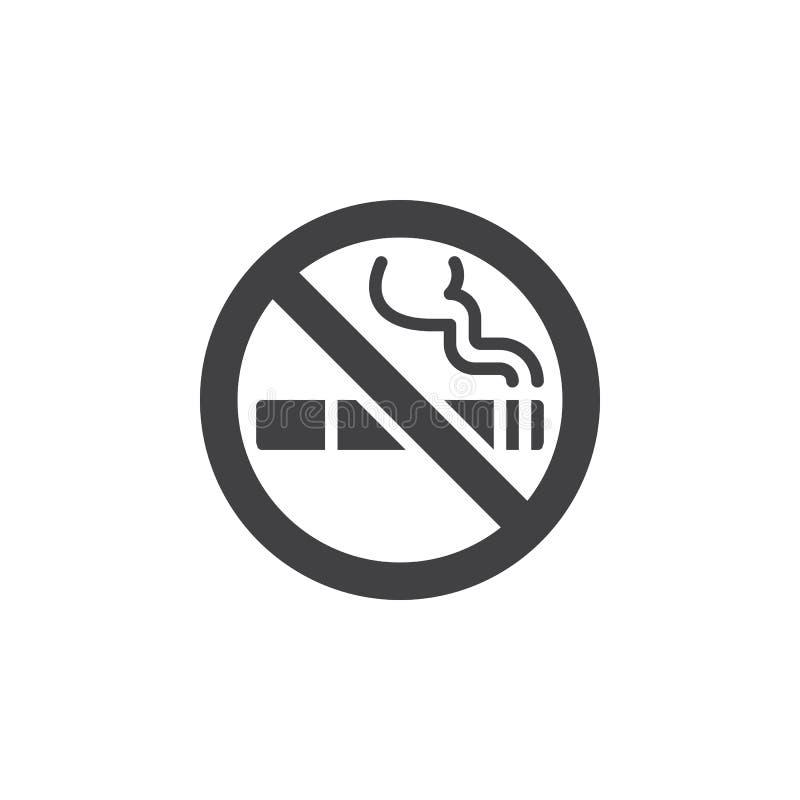 Vecteur d'icône de zone non-fumeurs, signe plat rempli, pictogramme solide d'isolement sur le blanc illustration libre de droits