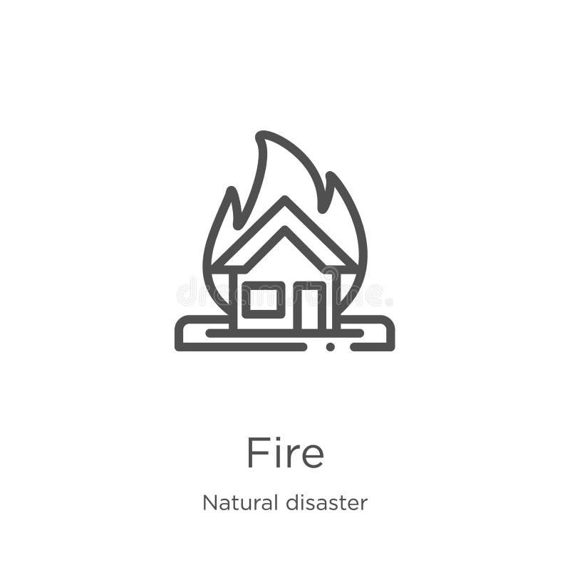 vecteur d'ic?ne du feu de collection de catastrophe naturelle Ligne mince illustration de vecteur d'ic?ne d'ensemble du feu Conto illustration de vecteur