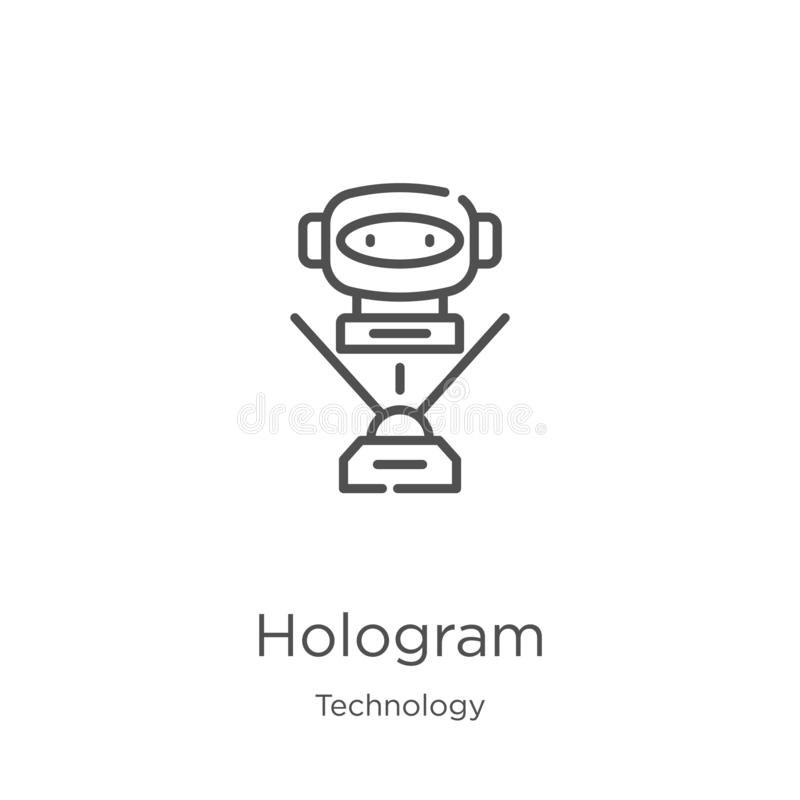 vecteur d'ic?ne d'hologramme de collection de technologie r Contour, ligne mince hologramme illustration libre de droits
