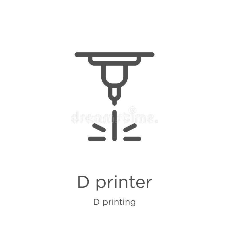 vecteur d'ic?ne d'imprimante de d de collection d'impression de d Ligne mince illustration de vecteur d'ic?ne d'ensemble d'imprim illustration de vecteur
