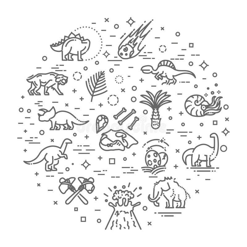 Vecteur d'icônes de dinosaure Oeuf et volcan de dinosaure, squelette de dinosaure et icônes de tyrannosaure illustration de vecteur