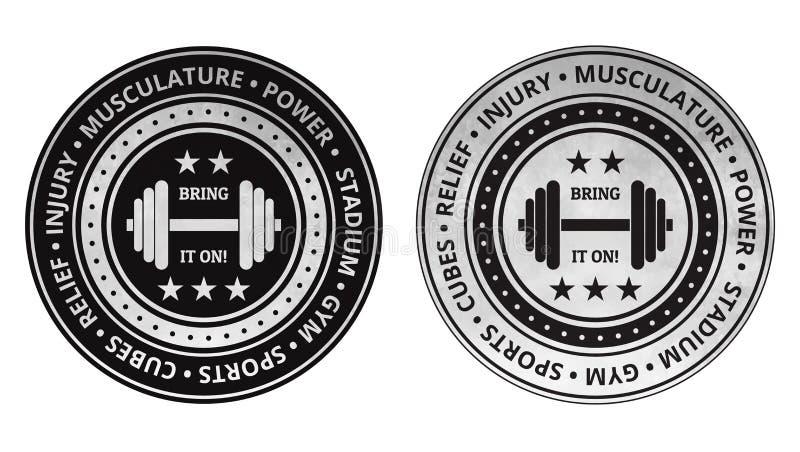 Vecteur d'icônes de gymnase de forme physique de bodybuilding sur un blanc illustration libre de droits