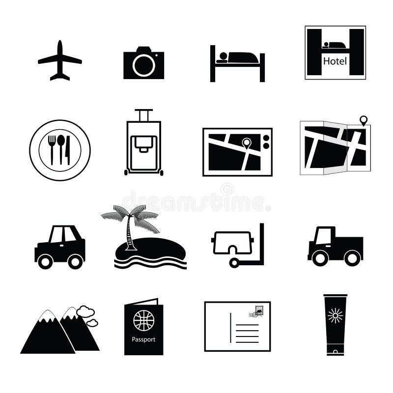 Vecteur d'icônes de voyage et de vacances illustration stock