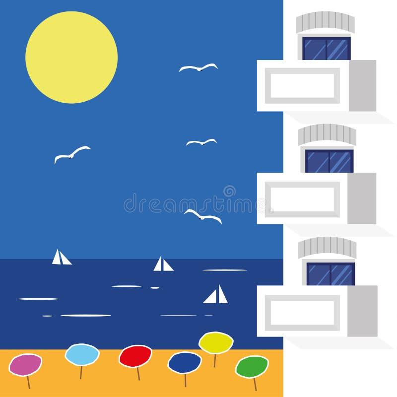 vecteur d'illustration d'hôtel de plage illustration de vecteur