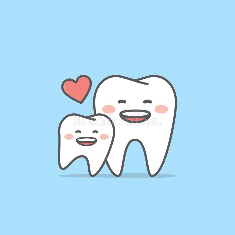 Vecteur d'illustration de caractère de dent de maman et d'enfant sur le fond bleu illustration stock