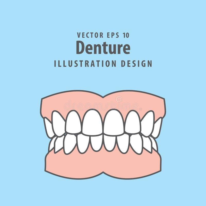 Vecteur d'illustration de dentier sur le fond bleu Concept dentaire illustration stock