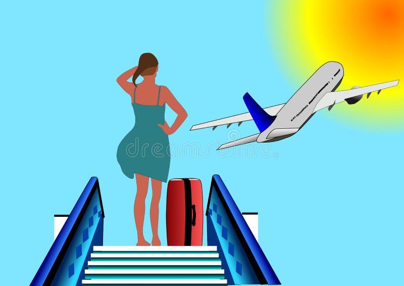 Vecteur d'illustration de femme ou de fille à l'aéroport images stock