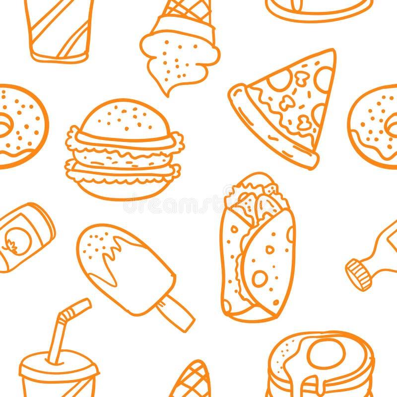 Vecteur d'illustration des griffonnages de Pâques de nourriture illustration libre de droits