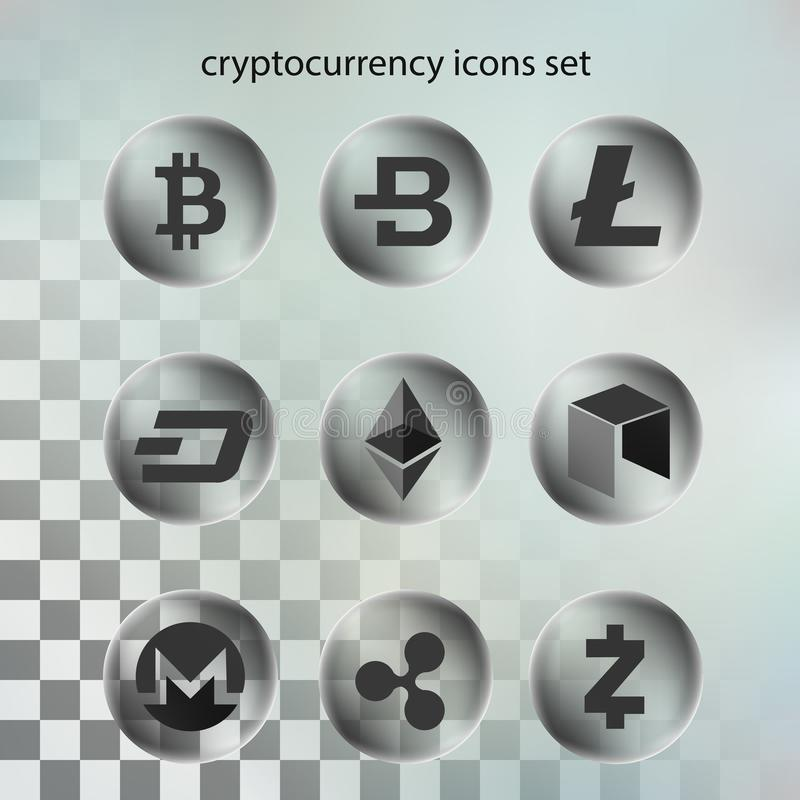 Vecteur d'illustration d'icône de cryptocurrency dans la bulle transparente sur le fond transparent images stock