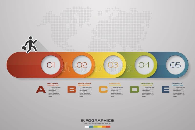 Vecteur 3d Infographic de chronologie Éléments d'éléments d'infographics d'étapes du résumé 5 Illustration de vecteur illustration de vecteur