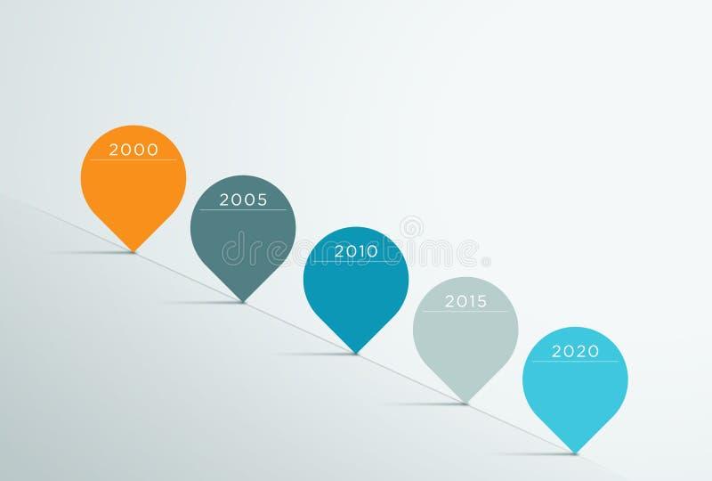 Vecteur 3d Infographic 5 de chronologie illustration libre de droits