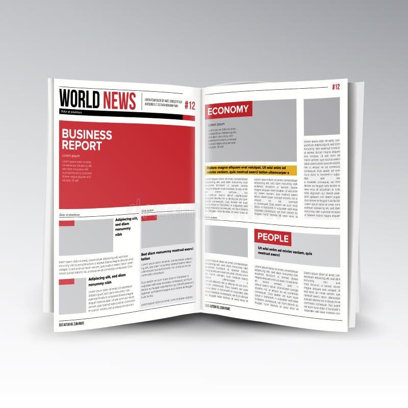Vecteur d'informations commerciales du monde de lecture Ouvrez le journal Articles Editable s'ouvrants des textes de titres réali illustration libre de droits