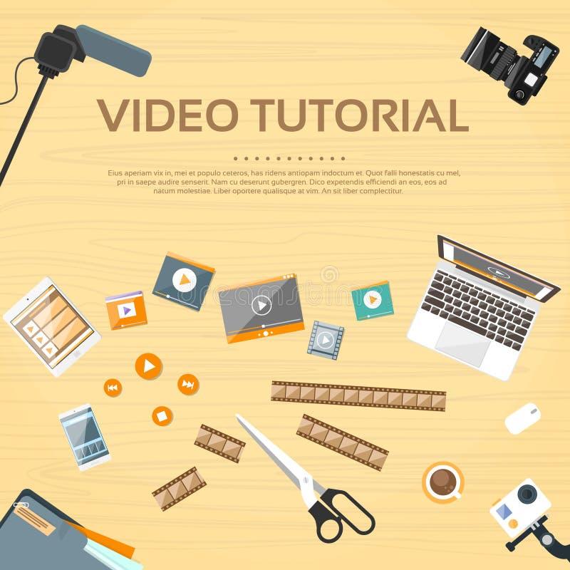 Vecteur d'instruction visuel de Desk Working Place de rédacteur illustration de vecteur