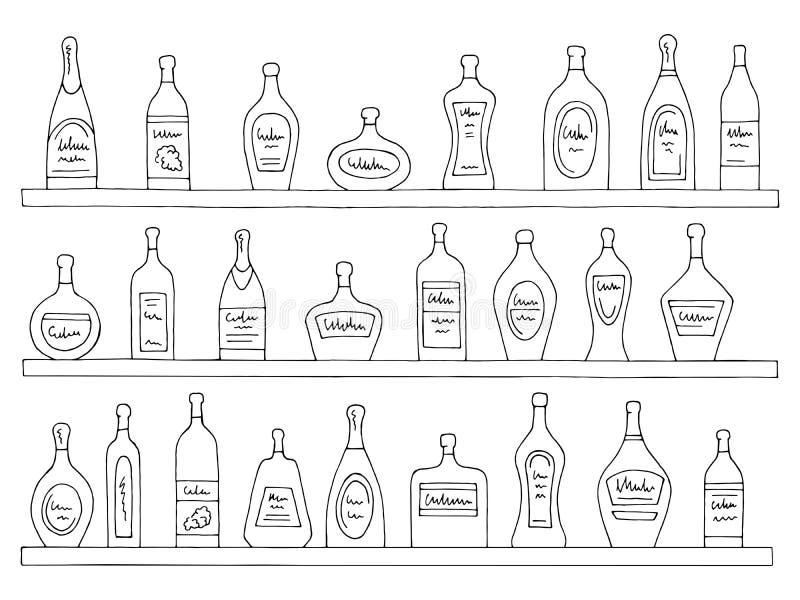 Vecteur d'isolement blanc noir graphique d'illustration de croquis de barre de bouteilles d'ensemble d'étagères illustration libre de droits