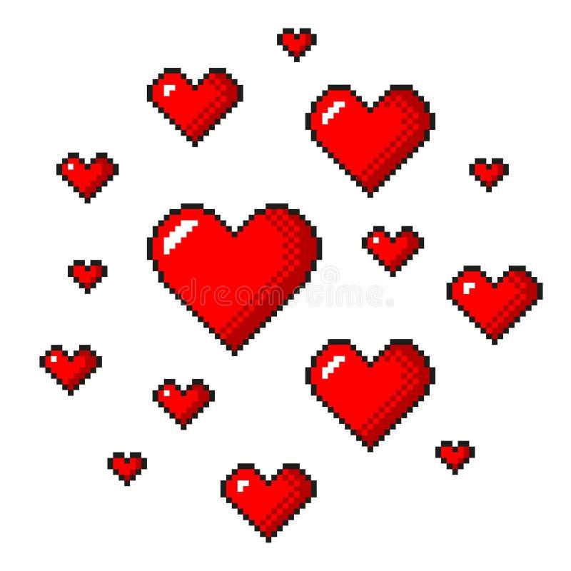 Vecteur d'isolement détaillé par coeurs rouges d'art de pixel illustration libre de droits