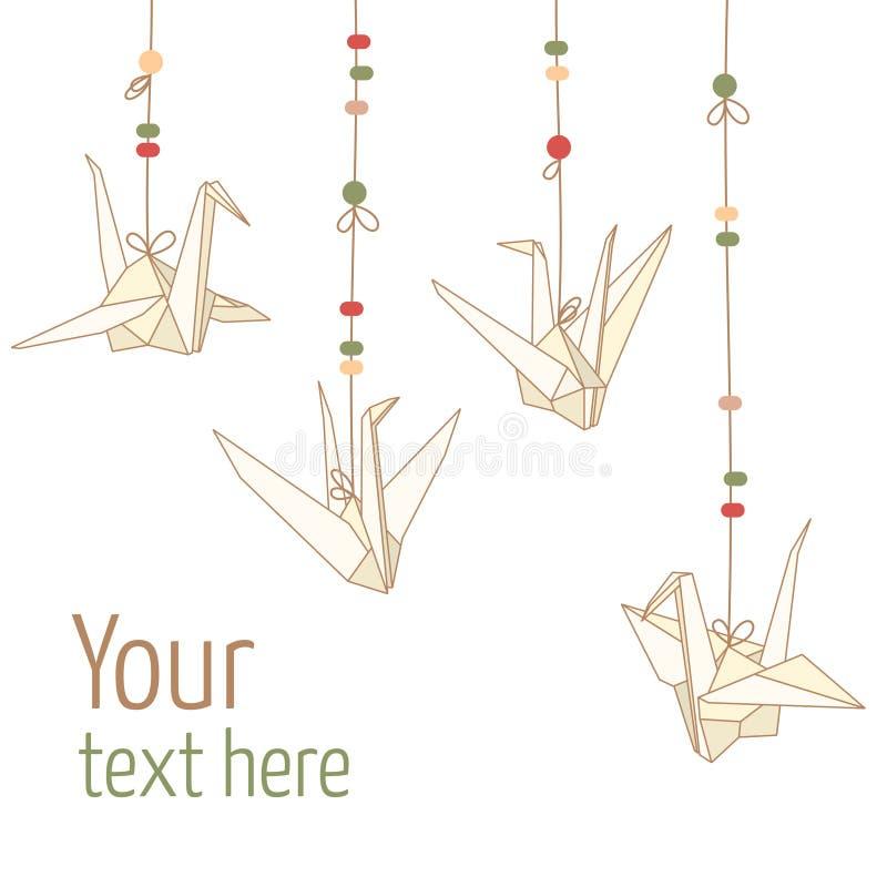 Vecteur d'isolement des grues de papier accrochantes d'origami illustration libre de droits