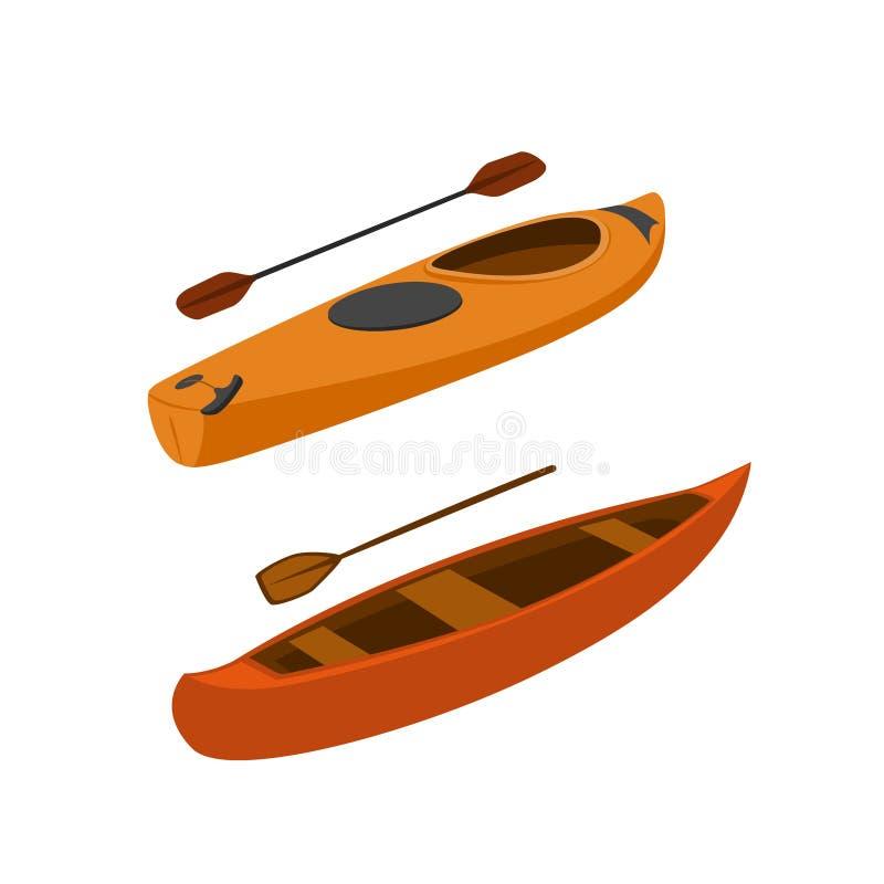 Vecteur d'isolement par bateaux de kayak et de canoë illustration libre de droits