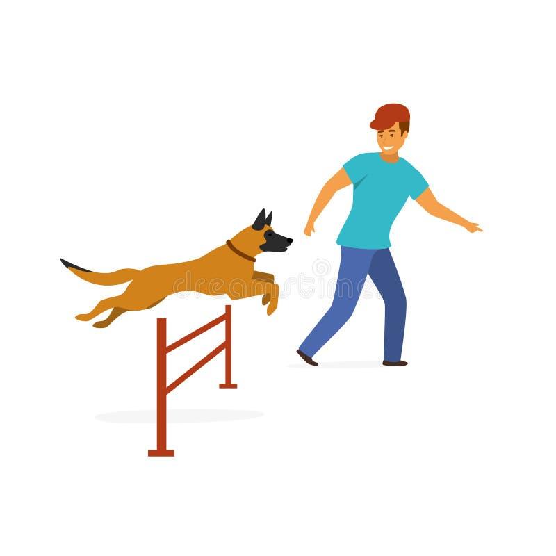 Vecteur d'isolement par exercice d'entraînement d'agilité de chien illustration libre de droits