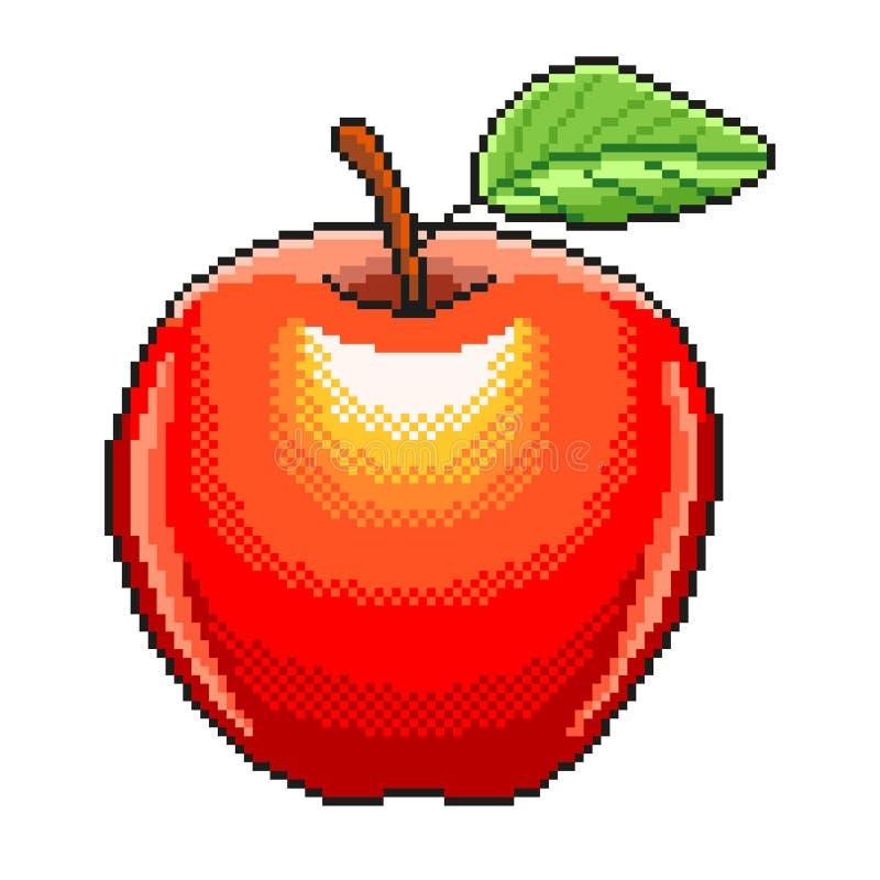 Vecteur d'isolement par illustration détaillée de fruit de pomme de pixel illustration libre de droits