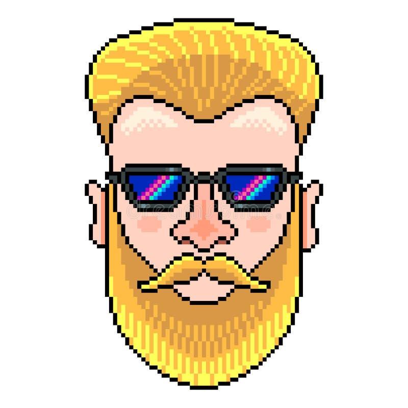 Vecteur d'isolement par illustration détaillée de portrait de hippie de pixel illustration de vecteur