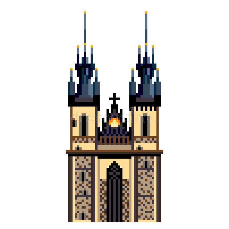 Vecteur d'isolement par illustration détaillée de symbole de ville d'église de Prague Tyn de pixel illustration de vecteur