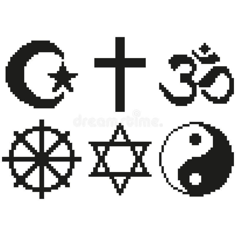 Vecteur d'isolement par illustration détaillée religieuse d'ensemble de symboles de pixel illustration libre de droits