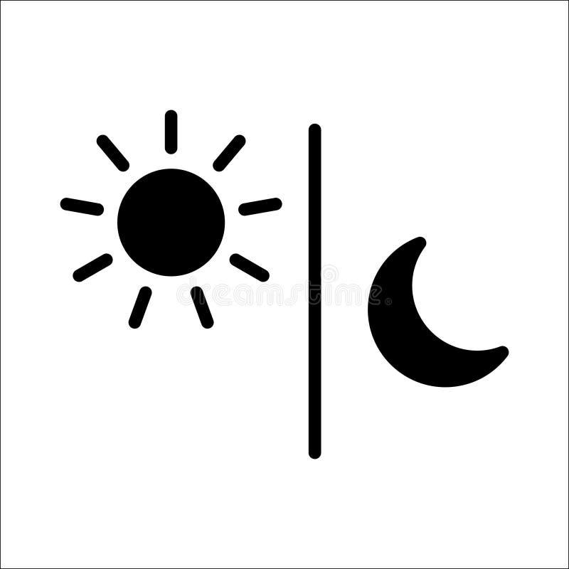 Vecteur d'isolement par illustration de noir d'icône de lune de Sun illustration stock