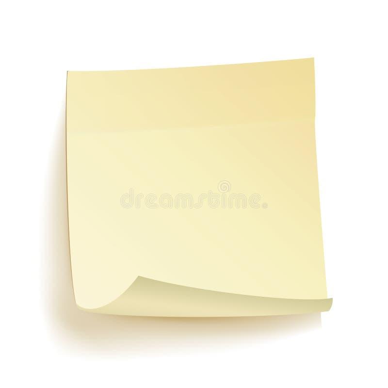 Vecteur d'isolement par notes d'écritures Autocollant de papier jaune réaliste sur le fond blanc avec l'ombre molle illustration de vecteur