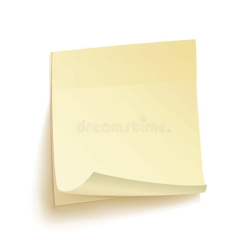 Vecteur d'isolement par notes d'écritures Illustration collante de note sur le fond blanc illustration libre de droits