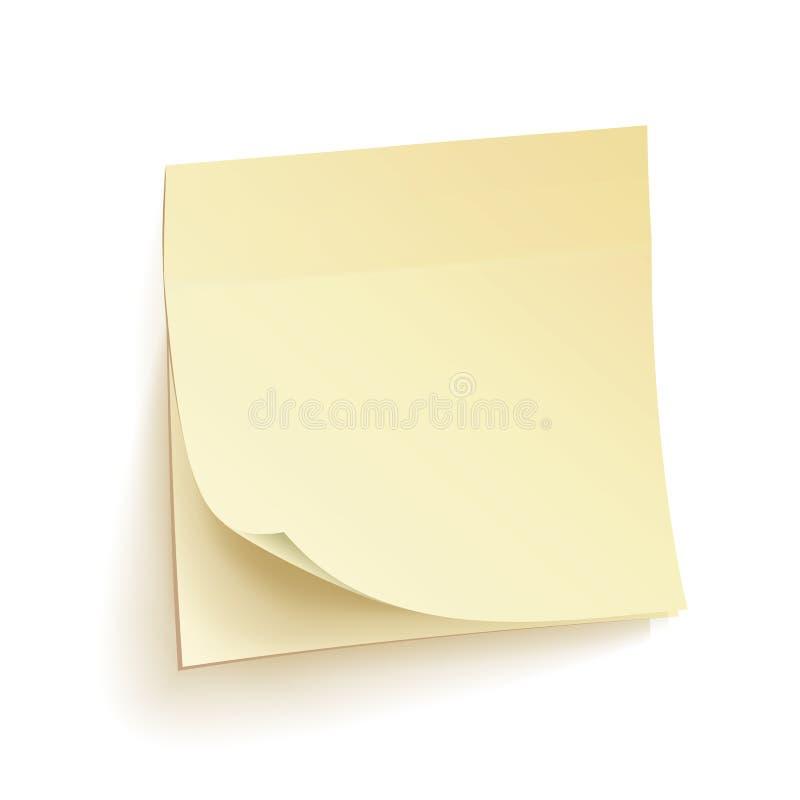 Vecteur d'isolement par notes d'écritures Notes collantes blanc Illustration réaliste sur le mur illustration stock