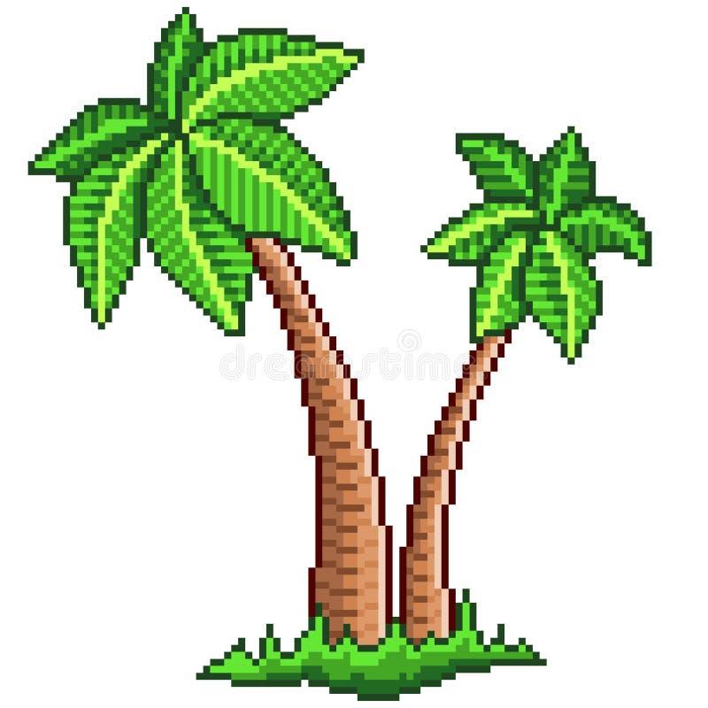 Vecteur d'isolement par palmiers du pixel deux illustration de vecteur
