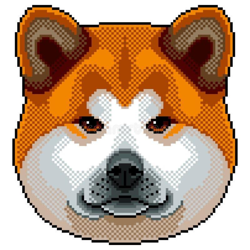Tête De Chien Dakita Inu Dans Le Style Dart De Pixel
