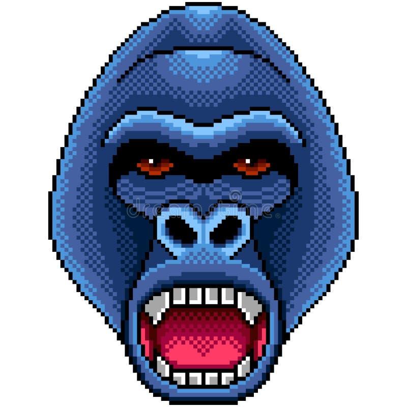 Vecteur d'isolement par portrait fâché de gorille de pixel illustration de vecteur