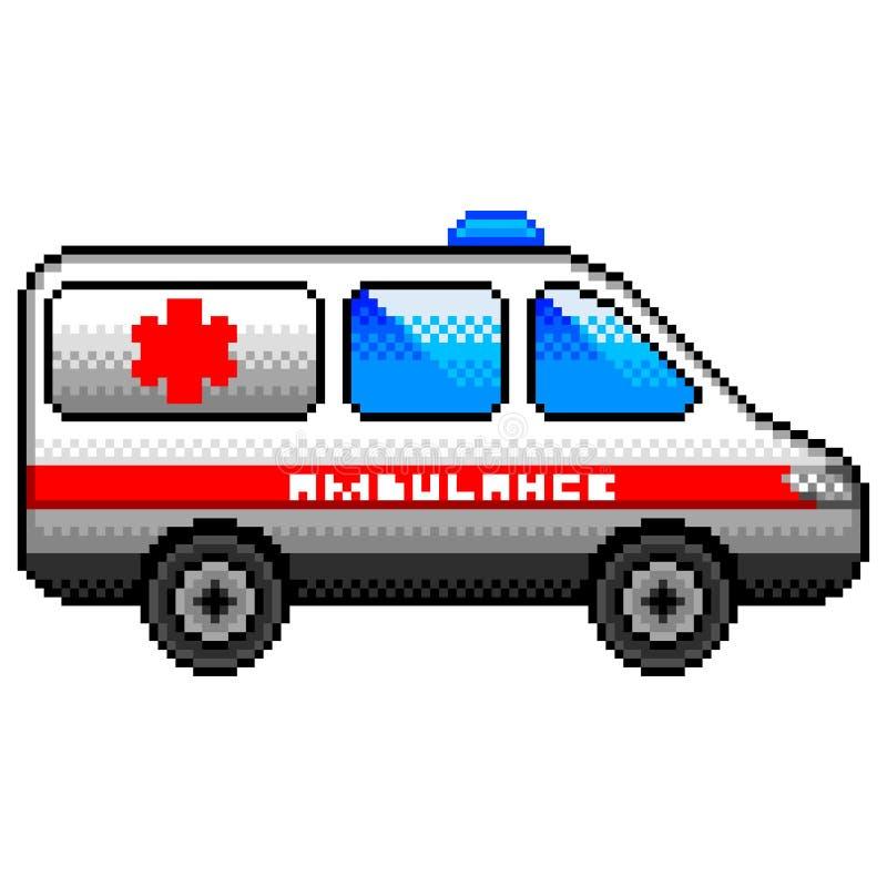 Vecteur d'isolement par voiture d'ambulance de pixel illustration de vecteur