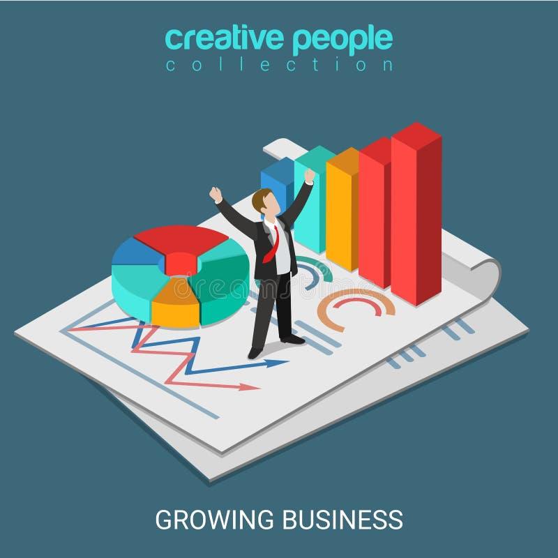 Vecteur 3d isométrique plat croissant d'homme d'affaires réussi d'affaires illustration libre de droits