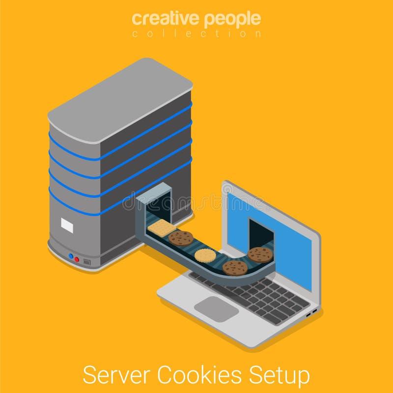 Vecteur 3d isométrique plat d'Internet de navigateur d'ordinateur portable de biscuits de serveur illustration de vecteur