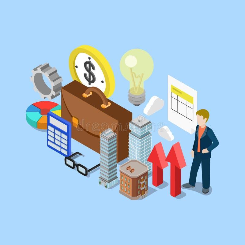 Vecteur 3d isométrique plat de comptabilité de comptabilité de domaine d'objet immobilier illustration libre de droits
