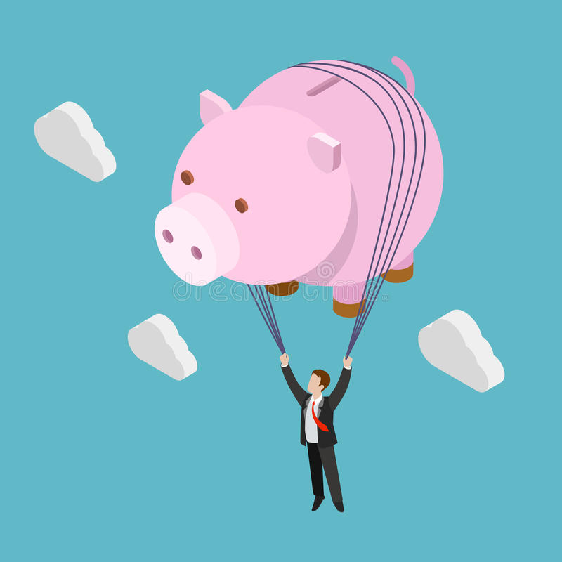 Vecteur 3d isométrique plat de liberté de banque financière d'homme d'affaires illustration libre de droits