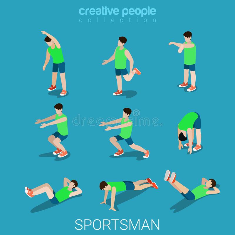 Vecteur 3d isométrique plat de sport de sportifs d'athlète masculin d'exercice illustration de vecteur